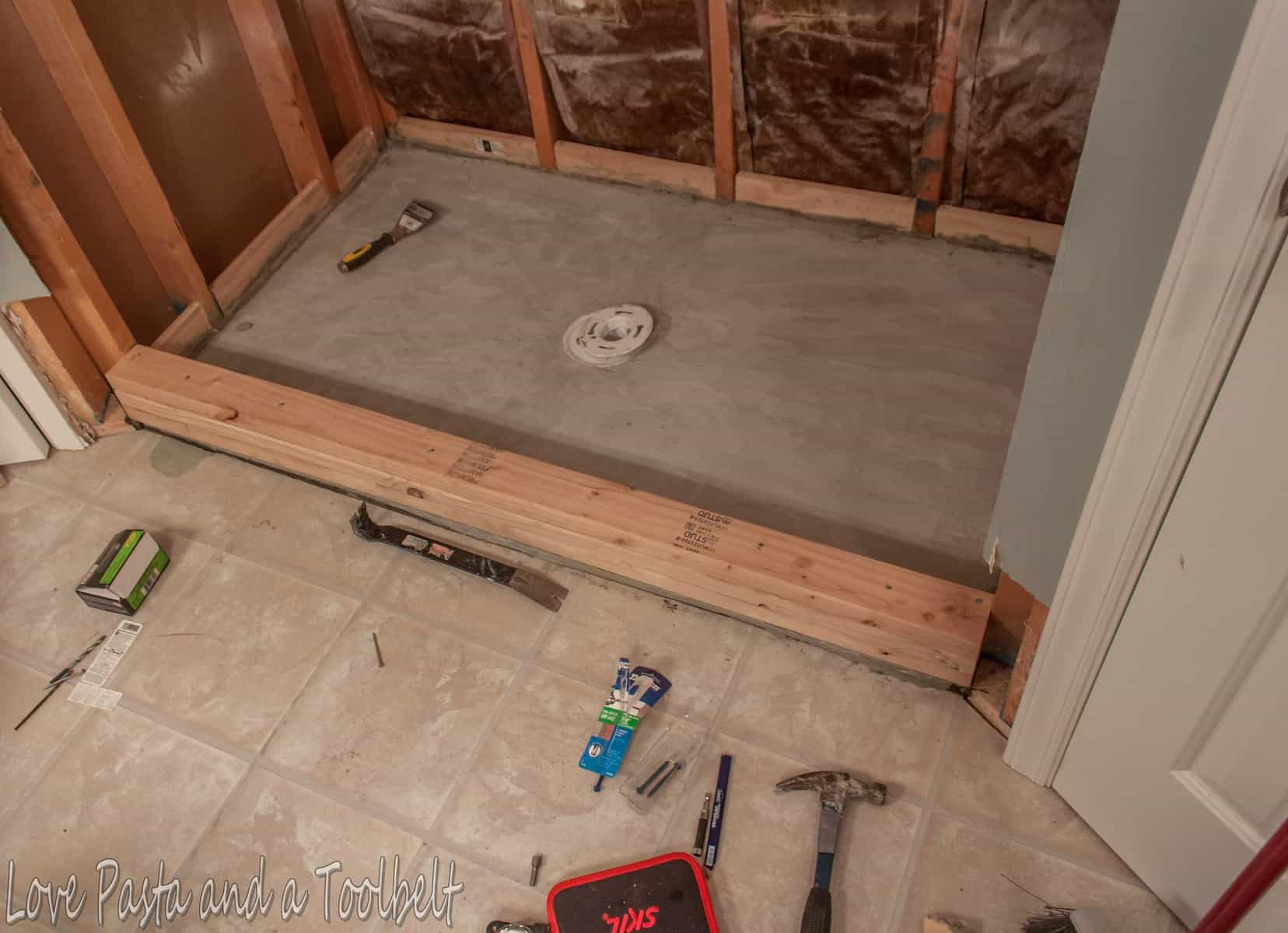 Diy Tile Shower Before And After Love Pasta And A Tool Belt