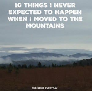 Welcome my guest poster Christine as she shares 10 Things I Never Expected to Happen When I Moved to the Mountains- Love, Pasta and a Tool Belt