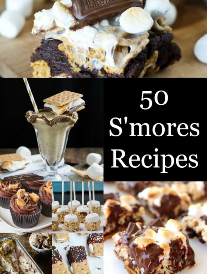 Make one of these 50 Sensational S'mores Recipes for your next party or just any regular night!- Love, Pasta and a Tool Belt | desserts | dessert recipes | smores | chocolate | marshmallows | graham crackers | cupcakes | cookies | sweets |