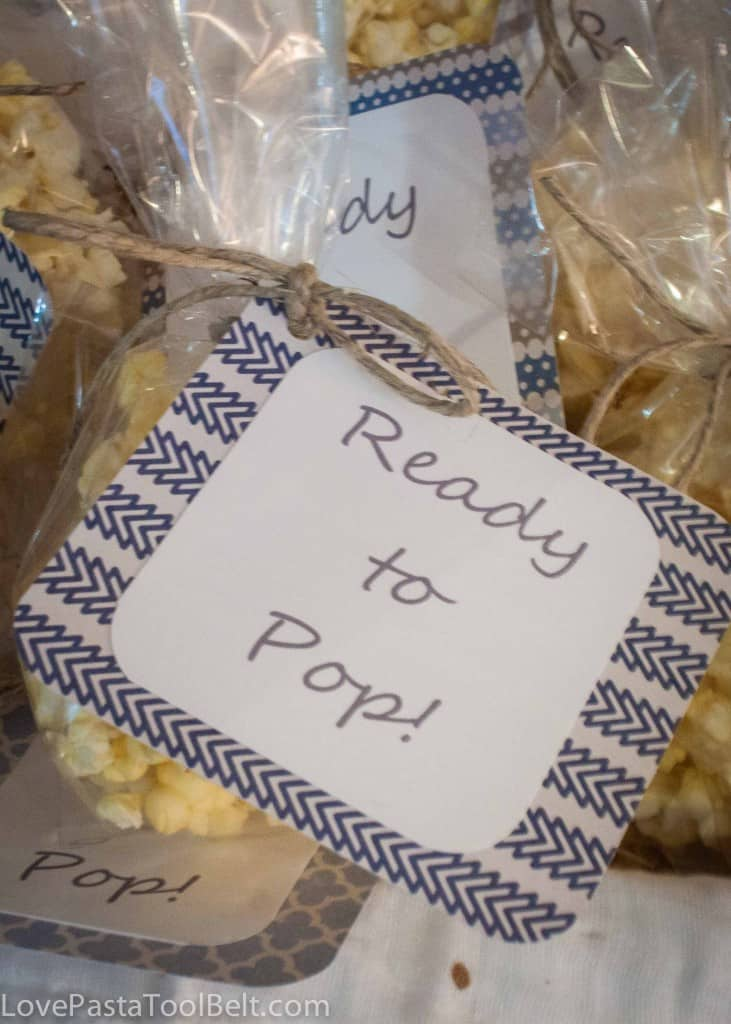 """Ready to Pop"" Baby Shower Favors with free printable- Love, Pasta and a Tool Belt 