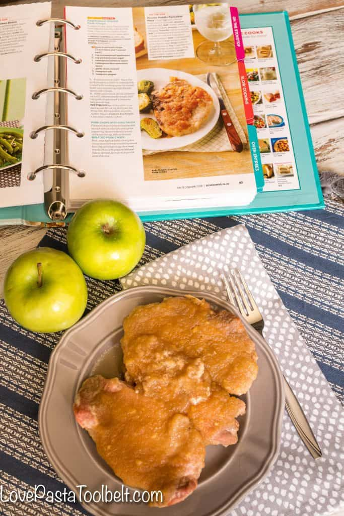 Enjoy some delicious fall flavors with minimal work with this recipe for Applesauce Glazed Pork Chops {sponsored}