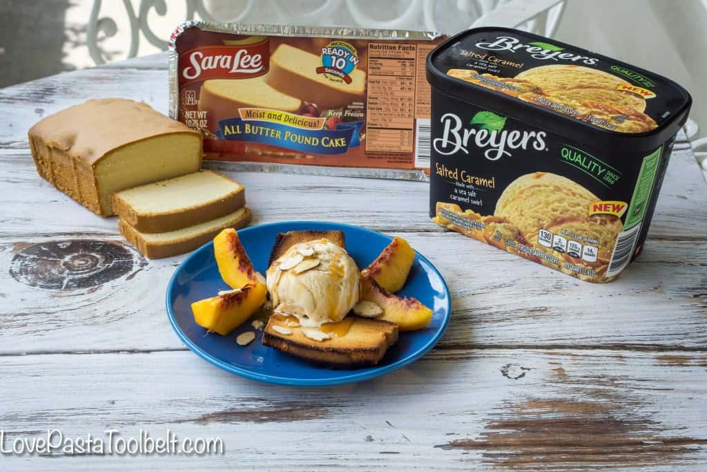 Enjoy your ice cream a new way with this Caramel Peach Pound Cake Sundae!- Love, Pasta and a Tool Belt | desserts | dessert ideas | ice cream | sweet treats | ice cream recipes | sundaes |  #EasySimpleSweet #ad #PMedia