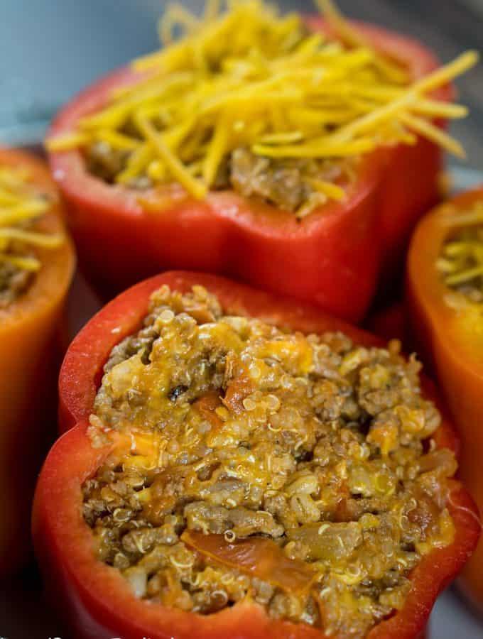 Cheesy Quinoa Stuffed Bell Peppers