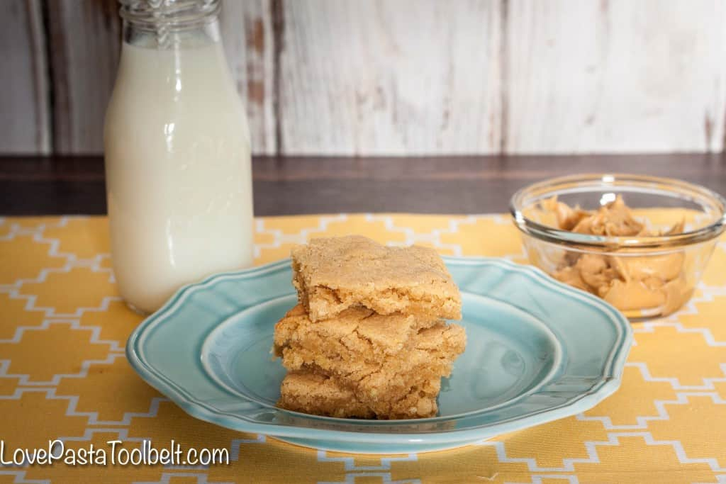Make a sweet treat with these easy Chewy Peanut Butter Bars- Love, Pasta and a Tool Belt | desserts | dessert recipes | food | dessert bars |