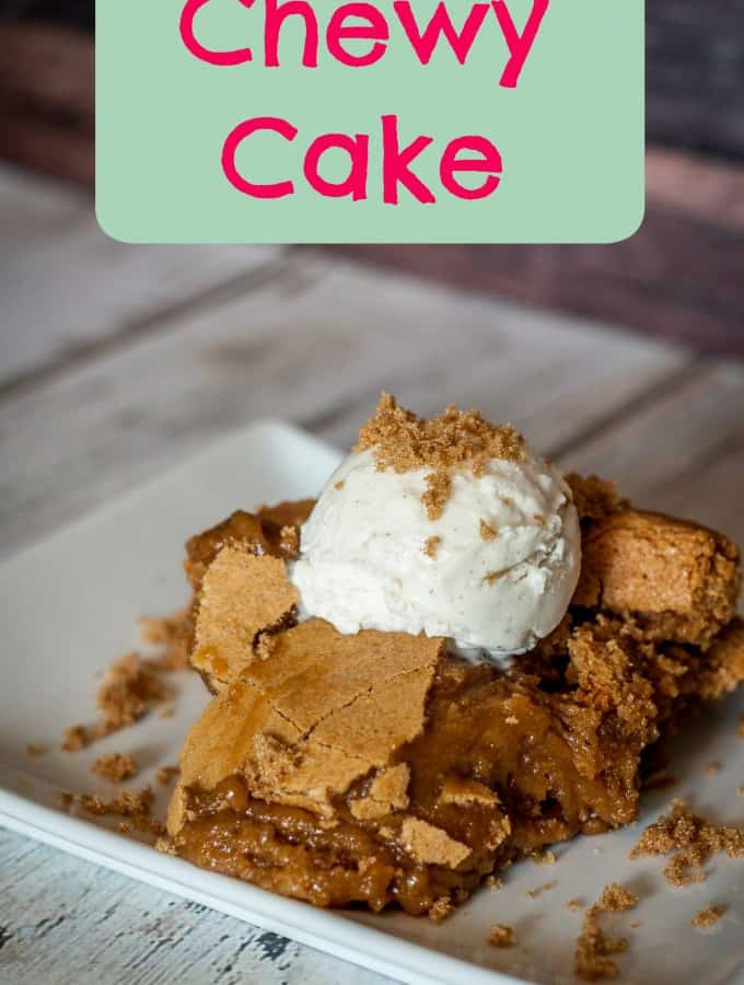 Top this Chewy Cake with some vanilla ice cream and you have the perfect dessert- Love, Pasta and a Tool Belt | cake | chewy cake | dessert | dessert recipes |