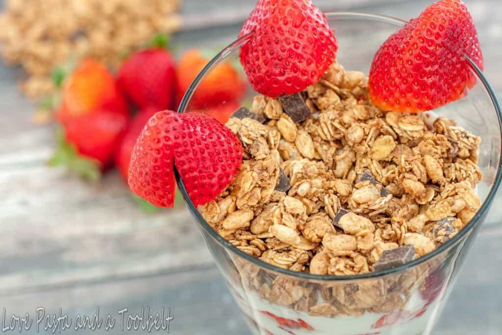 Chocolate Strawberry Parfait with Liberté® Méditerranée®- Love, Pasta and a Tool Belt #ad #YogurtPerfection    yogurt   parfait   breakfast   granola   easy breakfast  