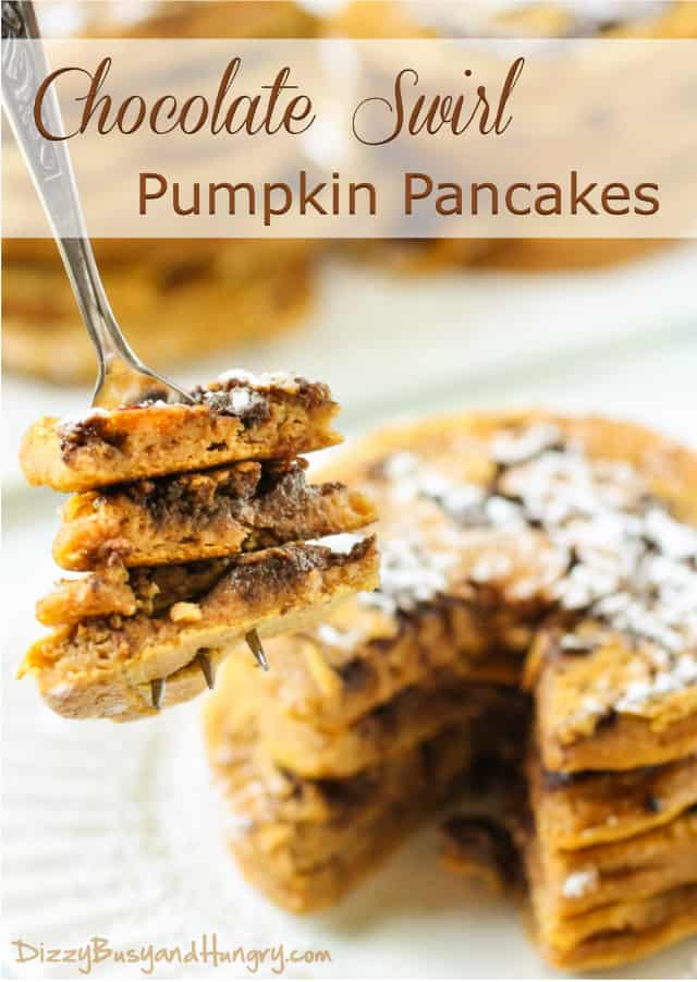 24. Pumpkin Chocolate Swirl Pancakes from Dizzy Busy & Hungry