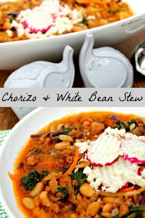 Chorizo and White Bean Stew ~ A simple stew of fresh Mexican chorizo, white beans, greens, and onions prove again how simple ingredients create the greatest flavor. Click thru for the recipe or Repin to save for later!