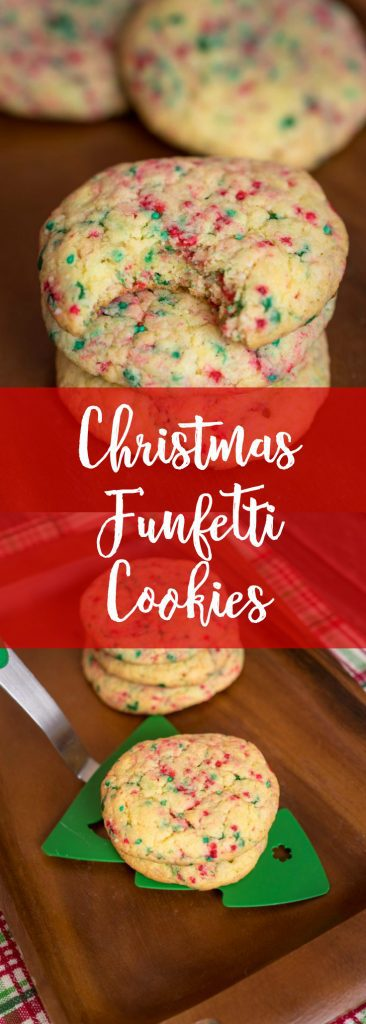 Thick, Chewy and Delicious are three words to describe these easy to make Christmas Funfetti Cookies. You'll want to add these to your Christmas cookie platter.