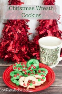 Make some holiday memories with these simple Christmas Wreath Cookies!- Love, Pasta and a Tool Belt #MemoriesIntheBaking #ad