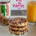 Cinnamon Roll Waffles are the perfect addition to your breakfast menu- Love, Pasta and a Tool Belt #WarmUpYourDay #ad | breakfast | waffles | cinnamon rolls |