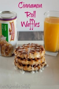 Cinnamon Roll Waffles are the perfect addition to your breakfast menu- Love, Pasta and a Tool Belt #WarmUpYourDay #ad   breakfast   waffles   cinnamon rolls  