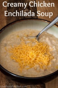 Crockpot Creamy Chicken Enchilada Soup is a delicious and tasty crockpot soup recipe - Love, Pasta and a Tool Belt | soup | crockpot | recipes |