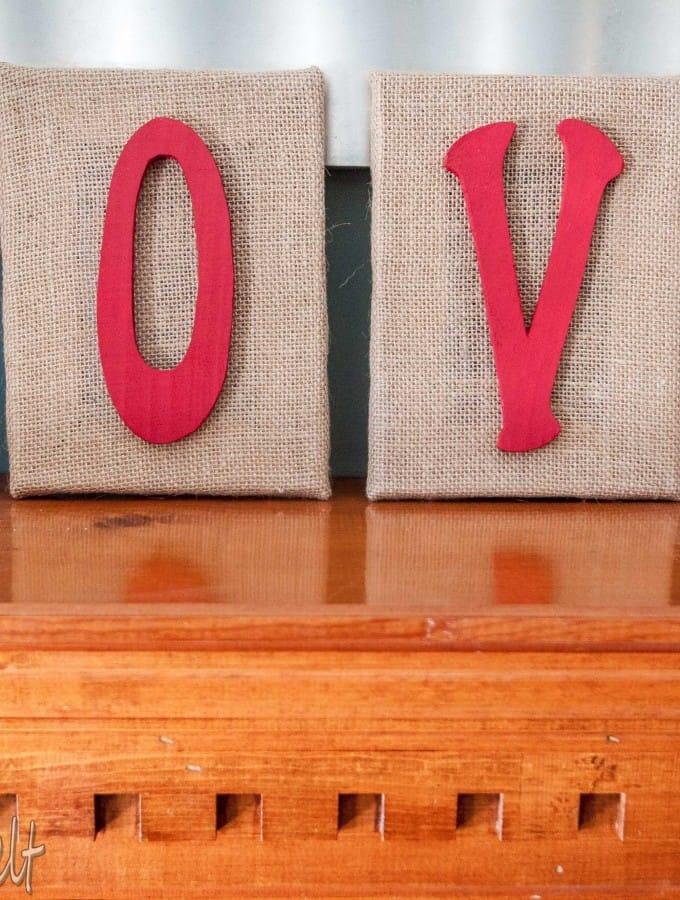 DIY Burlap LOVE Letters