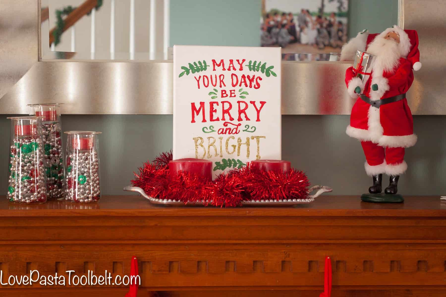 Add Some Cheer To Your Home With This DIY Merry And Bright Canvas!  Love