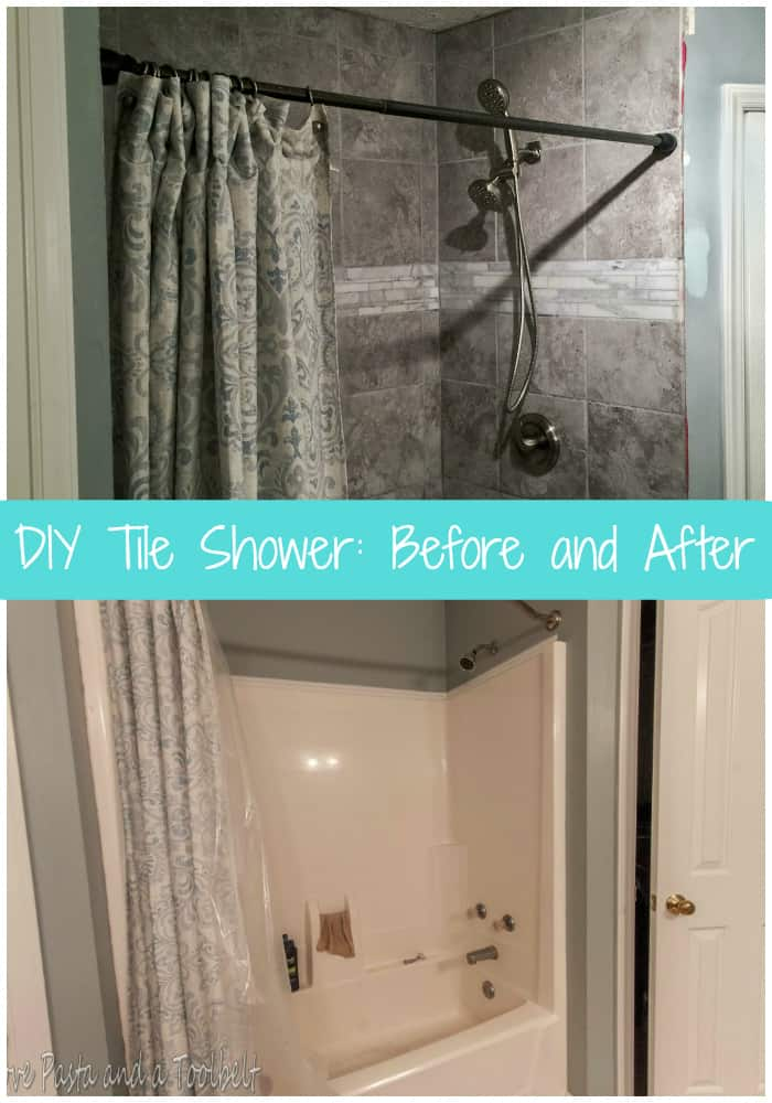 Come see how we took our shower/tub combo to a beautiful DIY Tile Shower: Before and After #ad | shower | renovation | remodel | DIY | tile shower | before and after |