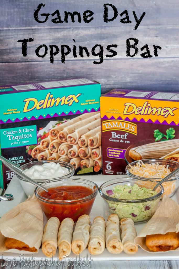 Game day toppings bar with delimex love pasta and a for Food bar game
