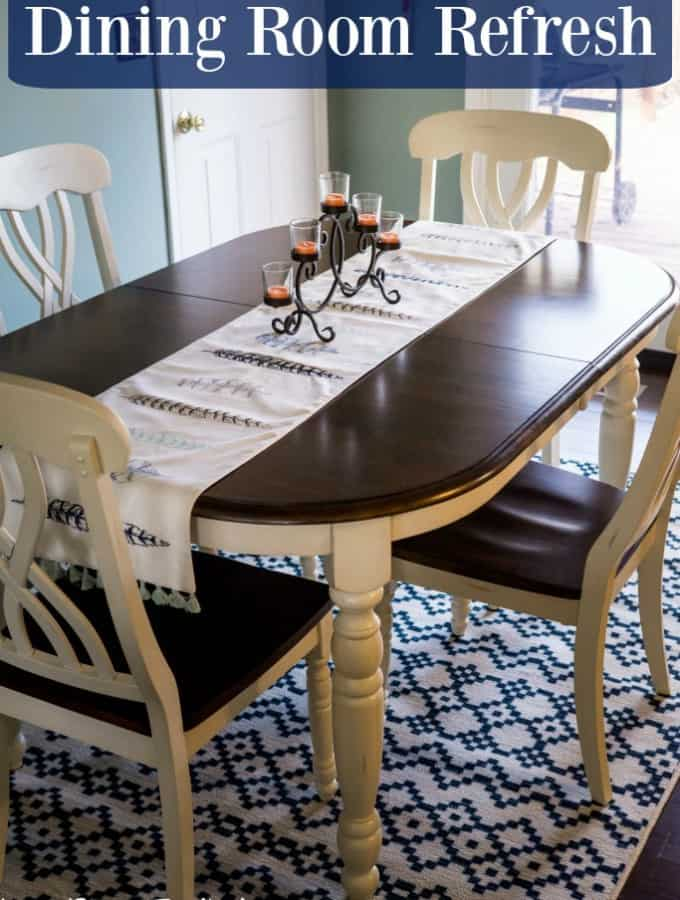 Come see how we gave our dining room a makeover in our Dining Room Refresh- Love, Pasta and a Tool Belt #ad #ilovemymohawkrug | Home Decor | Decorating |