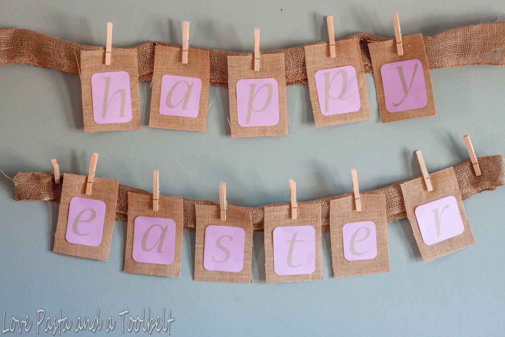 DIY Burlap Easter Banner- Love, Pasta and a Tool Belt | DIY | Easter | Banner |Burlap| Crafts | Burlap Crafts |