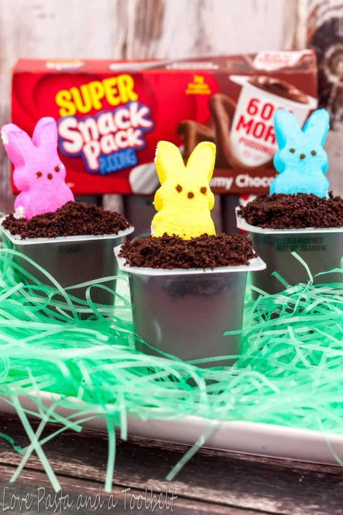 Easter Bunny Hole Pudding Cups- Love, Pasta and a Tool Belt #SnackPackMixins #ad | desserts | snacks | Easter |