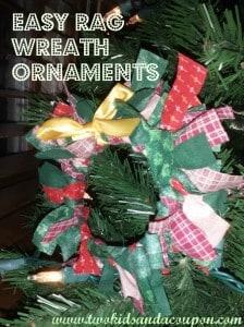 Easy Rag Wreath Ornaments