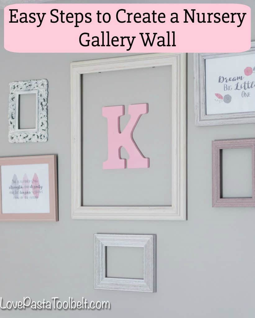 A gallery wall is a great way to dress up a blank wall. We created a gallery wall for K's nursery and I'm sharing Easy Steps to Create a Nursery Gallery Wall plus a creative trick to make it a little bit easier!. #ad #GooGone #GoodAsGone