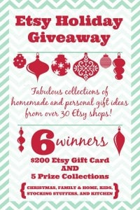 Etsy Holiday Giveaway with a $200 Etsy Gift Card and 5 prize packs!
