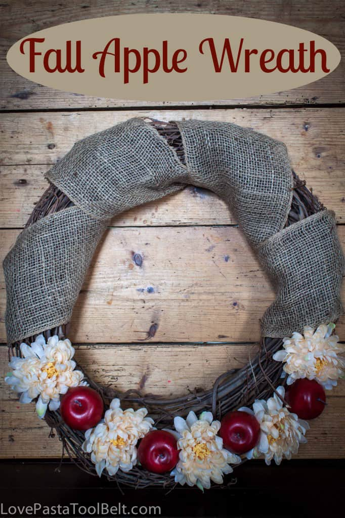 Fall Apple Wreath- Love, Pasta and a Tool Belt #wreath #fall