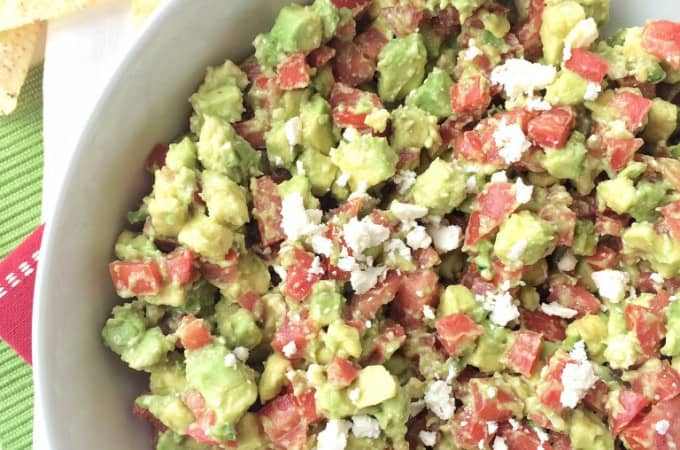 My contributor Jessica is sharing this great recipe for Feta & Avocado Salsa which is perfect for your football game day fun!-Love, Pasta and a Tool Belt   appetizers   food   recipes   salsa   side dish   dip   chips  