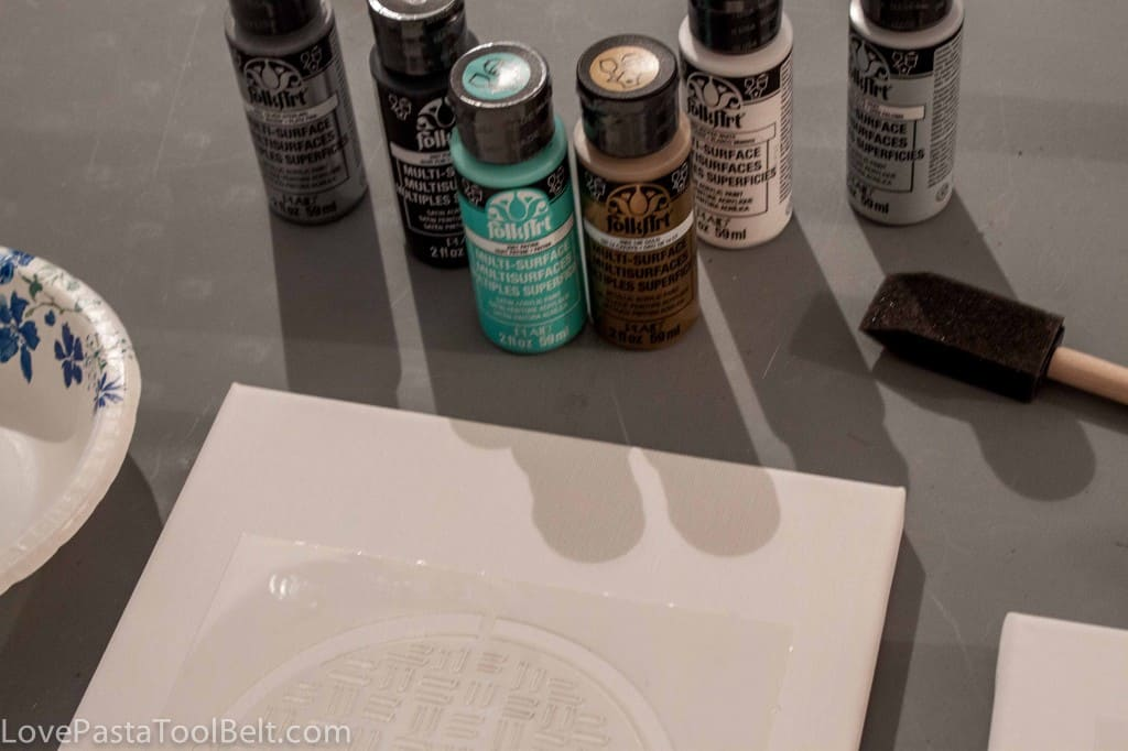 DIY Canvases with FolkArt Stencil1- Love, Pasta and a Tool Belt #ad