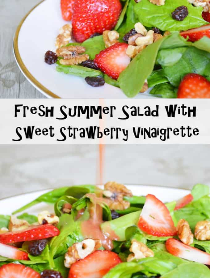 Please welcome my guest poster Kendra with her recipe for Fresh Summer Salad with Sweet Strawberry Vinaigrette- Love, Pasta and a Tool Belt | salad | recipes | food | fresh | healthy | summer |