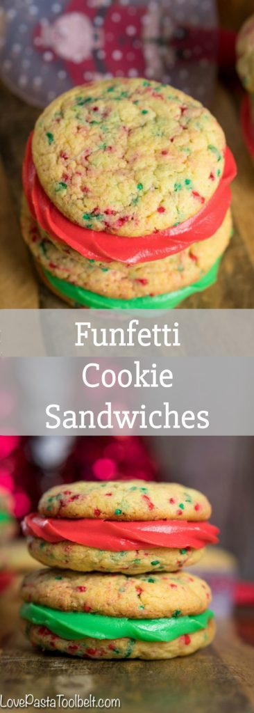 Thick and chewy cookies sandwiched together with delicious buttercream icing, these Funfetti Cookie Sandwiches will be a hit with the family any time of the year!