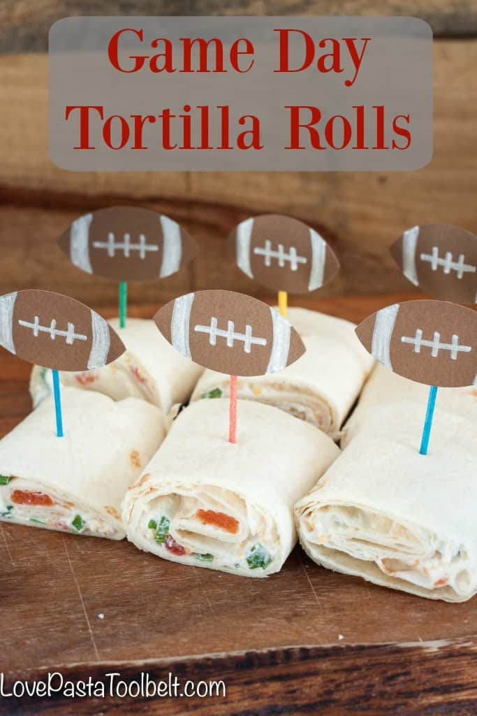 Prepare these Game Day Tortilla Rolls ahead of time for a great appetizer! - Love, Pasta and a Tool Belt #YesYouCAN {ad} | appetizers | food | football | recipes |