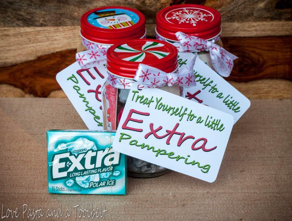 Give Extra with a Pedicure in a Jar and a free printable- Love, Pasta and a Tool Belt #ad #ExtraGumMoments | DIY gift | homemade gift | gift ideas | pedicure | free printable |