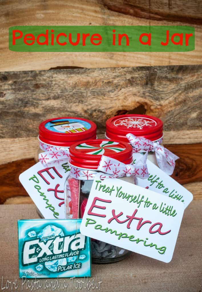 Give Extra with a Pedicure in a Jar and a free printable- Love, Pasta and a Tool Belt #ad #ExtraGumMoments | DIY | DIY gift | homemade gift | gift ideas | pedicure | free printable |