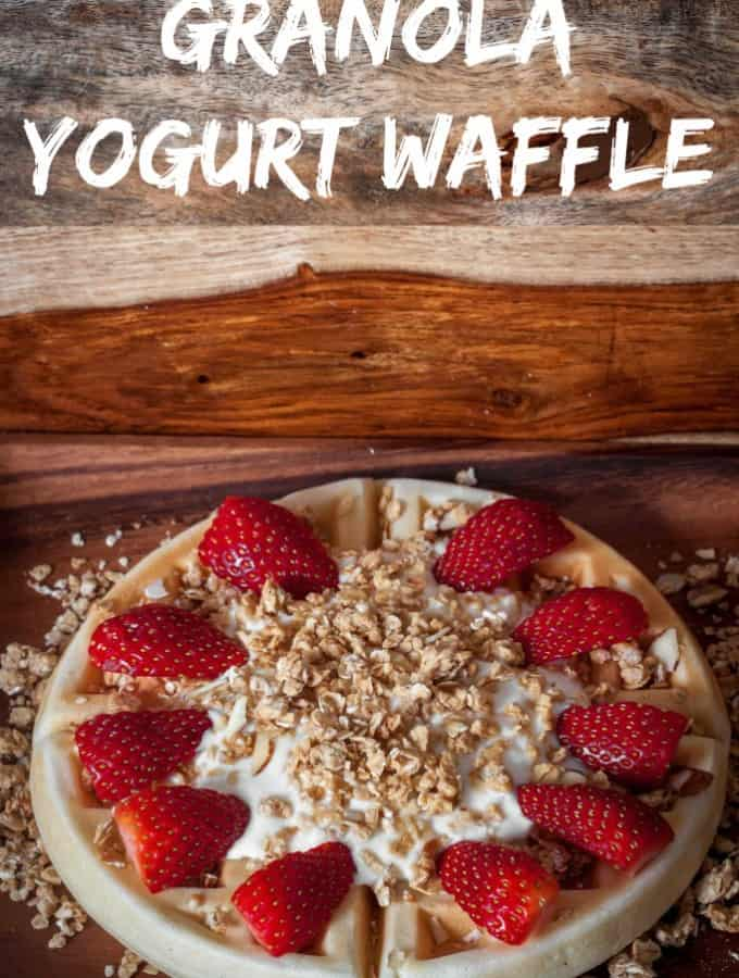 Granola Yogurt Waffle is a delicious twist on your classic waffle- Love, Pasta and a Tool Belt #LoveMyCereal #QuakerUp #spon | breakfast | waffles | recipes | granola |