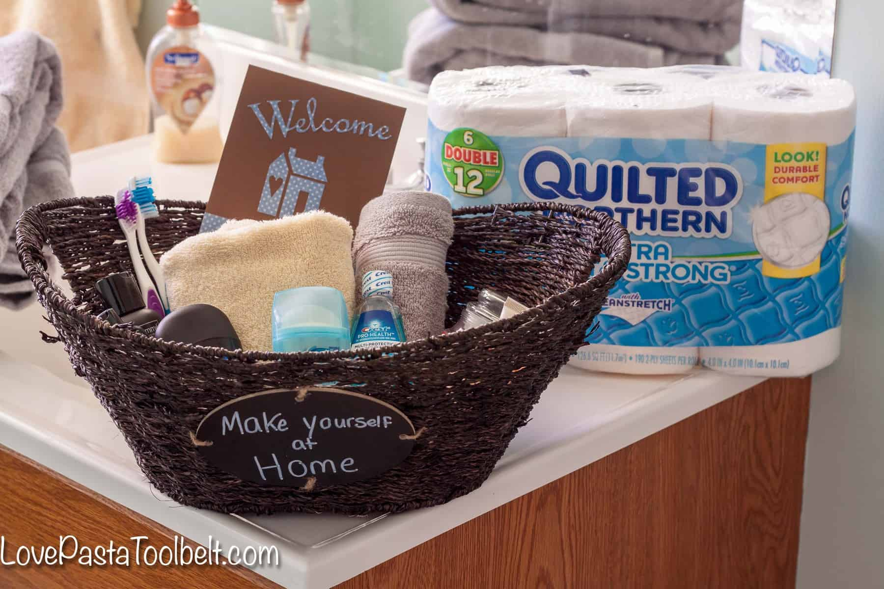 Help Your Guests Feel More At Home With This Guest Bathroom Welcome Basket Love
