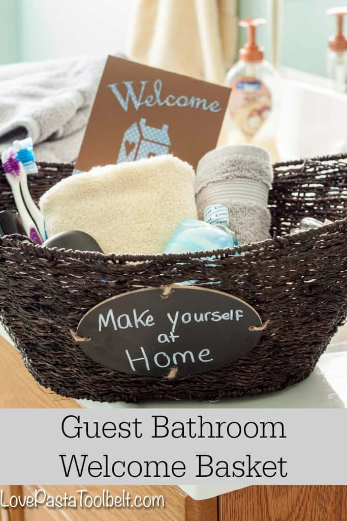 Help Your Guests Feel More At Home With This Guest Bathroom Welcome Basket!   Love