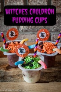 Witches Cauldron Pudding Cups are the perfect Halloween snack for your kids or your Halloween party! #SnackPackMixins #shop