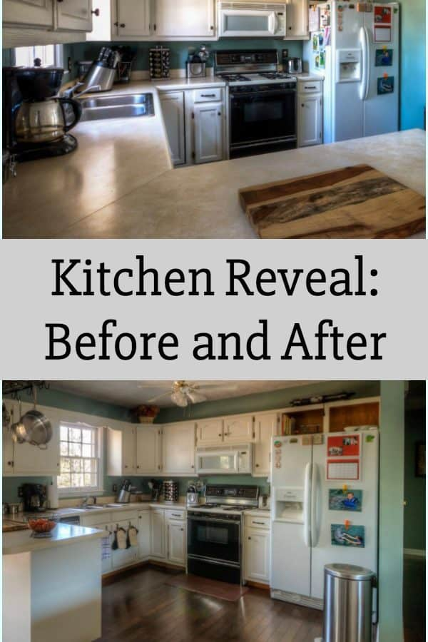 Kitchen Reveal: Before and After- Come see how we took an outdated kitchen into current times with some country chic flair