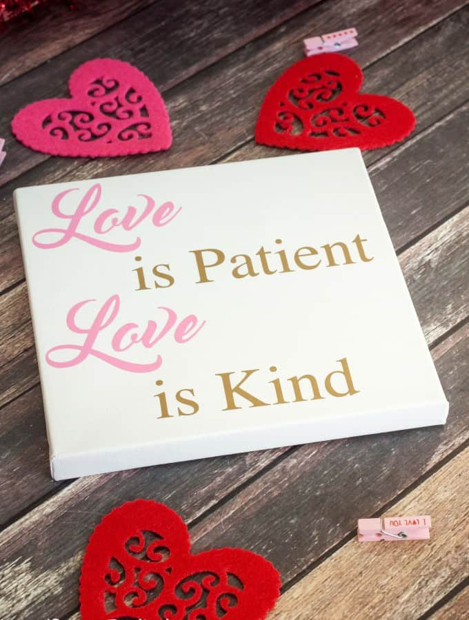 "Make some cute decor for Valentine's or year round with this ""Love is"" Silhouette Canvas Art!- Love, Pasta and a Tool Belt 