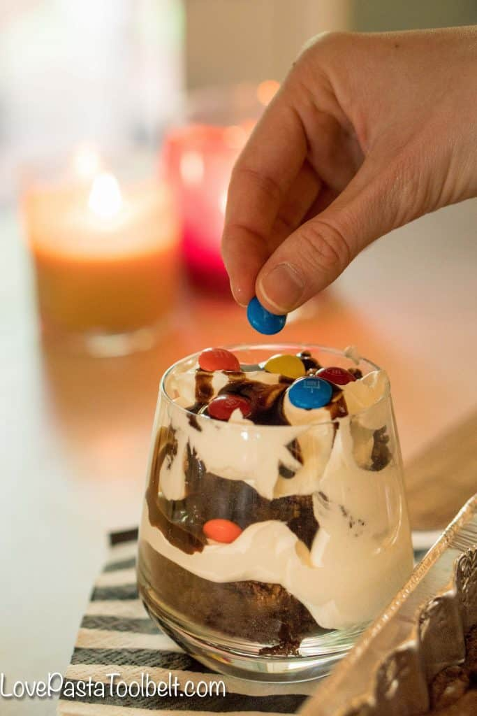 Game day treats don't get much easier or more delicious than these Easy M&M'S® Brownie Trifles {sponsored}