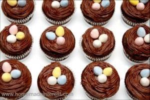 Marshmallow filled birds nest cupcakes