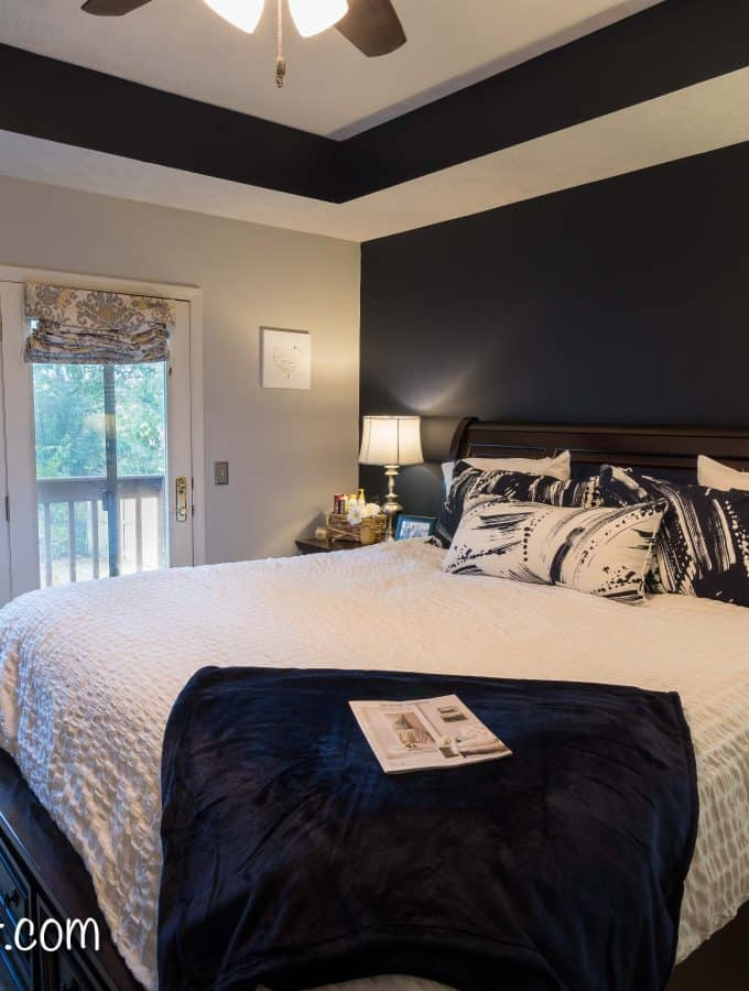 Navy and Gray Master Bedroom Design