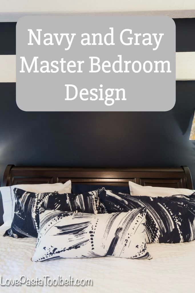 Find some inspiration for a Navy and Gray Master Bedroom for a luxurious and cozy room. #ad #AnnieSelkeStyle #IC