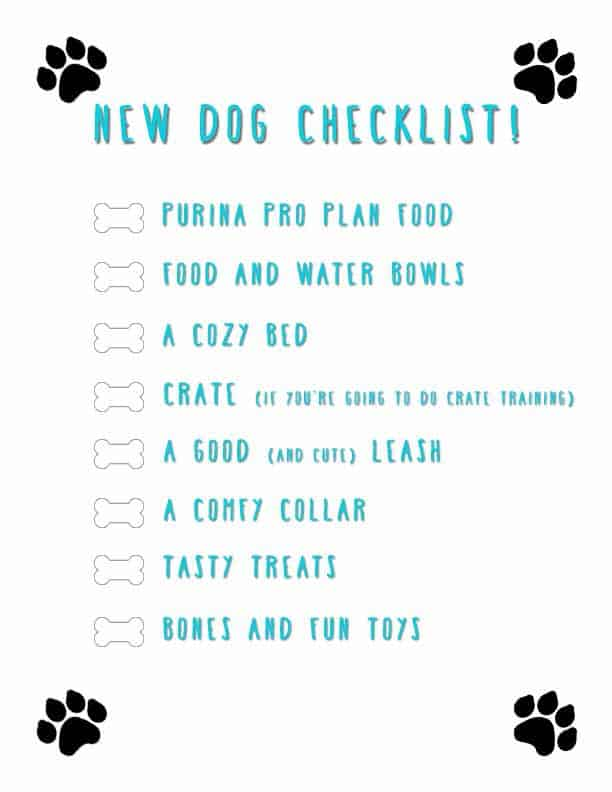 New Dog Checklist with Purina® Pro Plan®- Love, Pasta and a Tool Belt #ad #ProPlanPet | pets | dogs | free printable | printable | new dog | checklist |