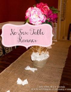 No Sew Burlap & Lace Runner