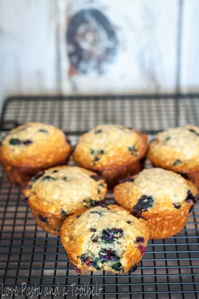 Blueberry Oatmeal Muffins- Love, Pasta and a Tool Belt | muffins | breakfast | snacks | blueberry | oatmeal | recipes |