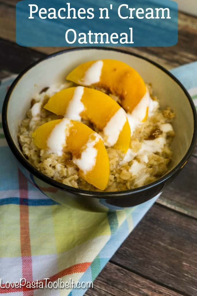 Mix up your breakfast routine with this Peaches n' Cream Oatmeal- Love, Pasta and a Tool Belt #BringYourBestBowl #Kroger #ad | breakfast | recipes | recipe ideas | brunch |