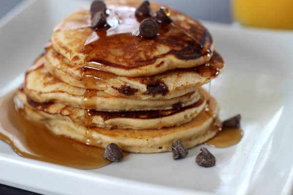 17. Peanut Butter Chocolate Chip Pancakes from Mom vs The Boys